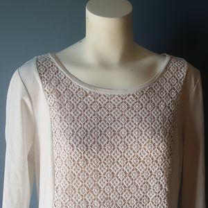 Ann Taylor (Factory) XL Cream Crochet Top